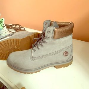 Gray Woman's Timberland Boots